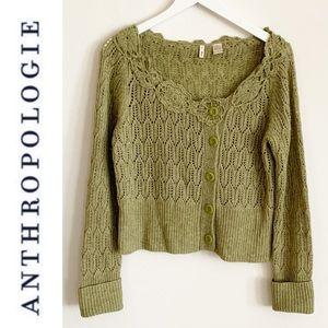 Anthropologie Moth Floral Crochet Wool Cardigan L